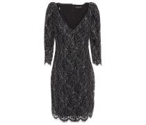 Anya Chiffon-trimmed Metallic Corded Lace Mini Dress