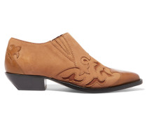 Azur Leather-paneled Suede Ankle Boots Braun