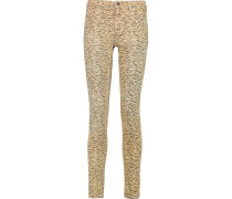 Printed Mid-rise Skinny Jeans Sand