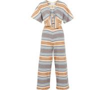 The Tie Cutout Striped Basketweave Cotton Jumpsuit Mehrfarbig