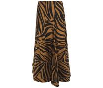 Asymmetric Zebra-print Silk-satin Twill Skirt