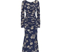 Corinne Ruched Floral-print Stretch-mesh Midi Dress