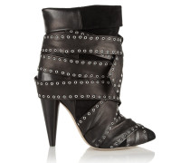 Aleen Belted Leather And Suede Ankle Boots Schwarz