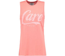 Printed cotton and modal-blend jersey tank