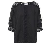 Crocheted Lace-paneled Cotton-blend Voile Top