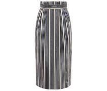 Pleated Metallic Striped Jacquard Pencil Skirt