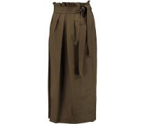Wrap-effect Cotton Midi Skirt Armeegrün