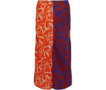Carine Paneled Printed Crepe Skirt Mehrfarbig