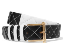 Two-tone Quilted Leather Belt Weiß