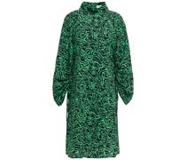 Bedrucktes Kleid aus Crêpe mit Raffungen