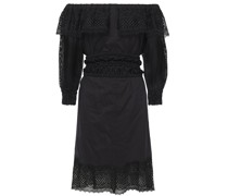 Off-the-shoulder Guipure Lace-paneled Cotton-blend Mousseline Dress
