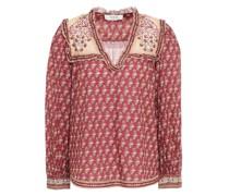 Bedruckte Bluse aus Baumwolle mit Rüschenbesatz