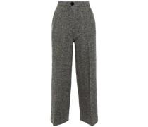 Herringbone Wool Wide-leg Pants