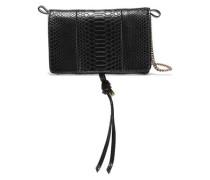 Croc-effect Faux Leather Shoulder Bag Black Size --