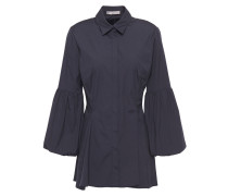 Woman Gathered Cotton-blend Poplin Shirt Navy