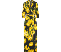 Wrap-effect Floral-print Crepe Maxi Dress Gelb