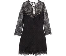 Corded Lace And Polka-dot Jacquard Playsuit Schwarz