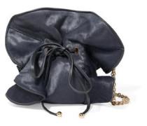 Leather-trimmed calf hair shoulder bag