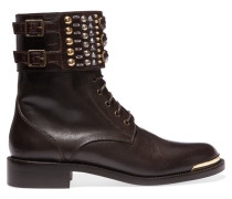 Embellished Smooth And Croc-effect Leather Boots Schwarz