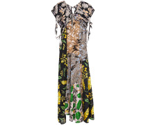 Patchwork Printed Silk-crepe And Woven Maxi Dress