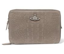 Croc-effect Leather Cosmetics Case Grau