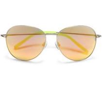 Aviator-style Acetate Mirrored  Sunglasses Silver Size --