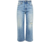 Camille Cropped Distressed High-rise Straight-leg Jeans