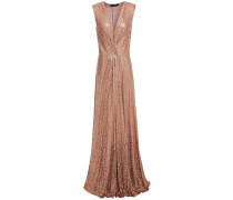 Wrap-effect Sequined Silk Gown