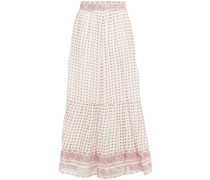 Luciole Gathered Printed Cotton-voile Maxi Skirt
