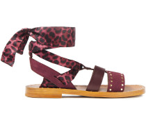 Studded Suede, Leather And Leopard-print Satin Sandals