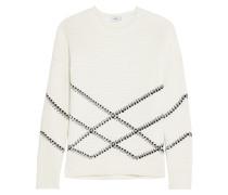 Intarsia Cotton-blend Sweater Wollweiß