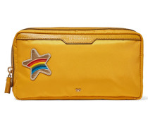 Suncreams Leather-trimmed Shell Cosmetics Case Senfgelb