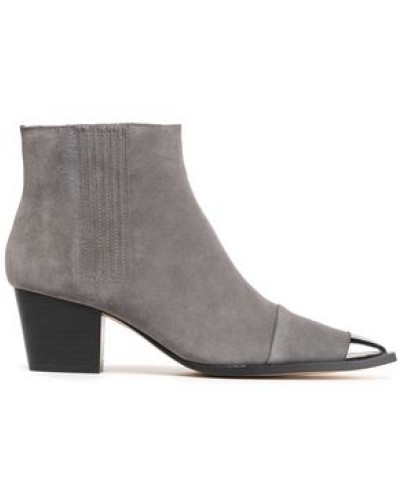 Blythe Embellished Suede Ankle Boots Gray
