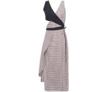 Cutout Gingham Wool-blend Midi Dress