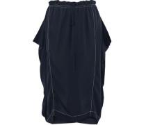 Gathered silk-crepe midi skirt