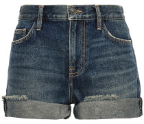 The Boyfriend Rolled Distressed Denim Shorts