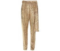 Belted Sequined Tulle Tapered Pants