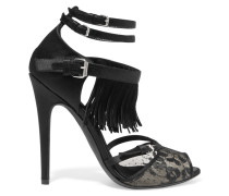 Fringed Suede, Lace And Satin Sandals Schwarz