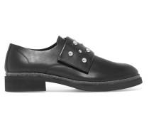 Stud-embellished Leather Loafers Schwarz