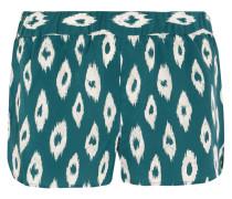 Landis Printed Washed-silk Pajama Shorts Petrol