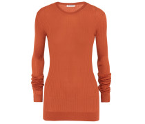 Ribbed-knit Silk Sweater Knallorange