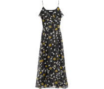 Kenny Ruffled Metallic Floral-print Silk-blend Georgette Maxi Dress