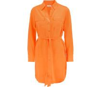 Washed-silk Mini Dress Knallorange