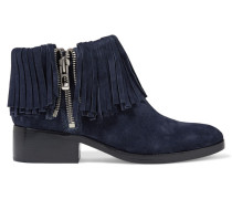 Alexa Fringed Suede Ankle Boots Mitternachtsblau