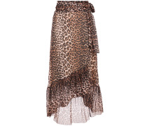 Leopard-print Stretch-mesh Midi Wrap Skirt