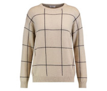 Checked sequin-embellished cashmere and silk-blend sweater