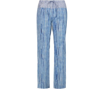 Shibori Printed Cotton-poplin Wide-leg Pants Blau