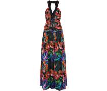 Sequin-embellished Printed Silk-chiffon Gown Schwarz