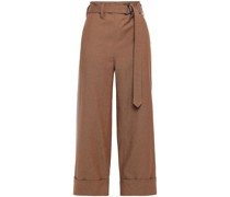 Cropped Cotton And Linen-blend Twill Wide-leg Pants