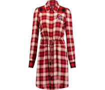 Crepe-paneled appliquéd plaid twill dress